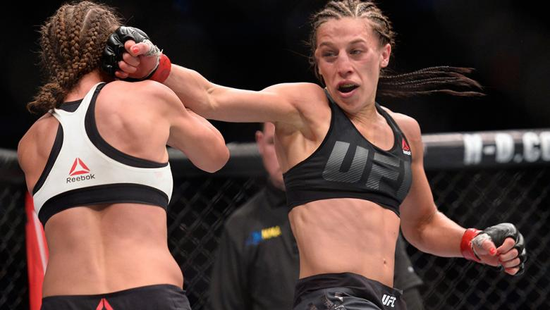NEW YORK, NY - NOVEMBER 12:  Karolina Kowalkiewicz of Poland (left) fights against Joanna Jedrzejczyk of Poland in their women's strawweight championship bout during the UFC 205 event at Madison Square Garden on November 12, 2016 in New York City.  (Photo
