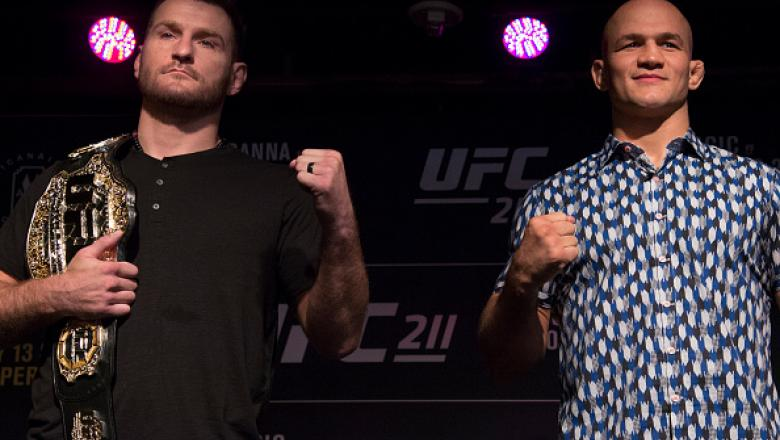 DALLAS, TX - MAY 10:  Stipe Miocic (L) faces off with Junior dos Santos during the UFC 211 Ultimate Media Day at the House of Blues Dallas on May 10, 2017 in Dallas, Texas. (Photo by Cooper Neill/Zuffa LLC/Zuffa LLC via Getty Images)