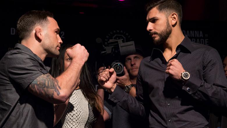 DALLAS, TX - MAY 10:  Frankie Edgar faces off with Yair Rodriguez during the UFC 211 Ultimate Media Day at the House of Blues Dallas on May 10, 2017 in Dallas, Texas. (Photo by Cooper Neill/Zuffa LLC/Zuffa LLC via Getty Images)