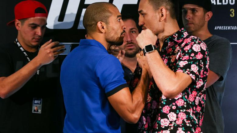 RIO DE JANEIRO, BRAZIL - JUNE 01: UFC featherweight fighters Jose Aldo (L) of Brazil and Max Holloway of the United States face off during Ultimate Media Day at Windsor Hotel on June 01, 2017 in Rio de Janeiro, Brazil. (Photo by Buda Mendes/Zuffa LLC/Zuff