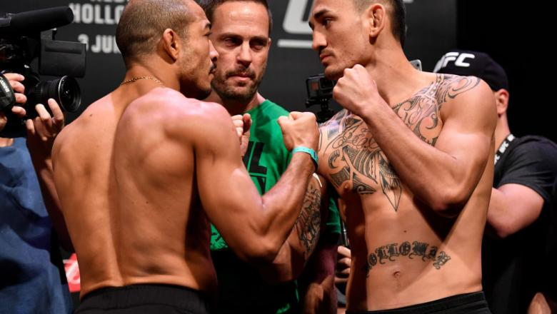 RIO DE JANEIRO, BRAZIL - JUNE 02:  (L-R) Jose Aldo of Brazil and Max Holloway of the United States face off during the UFC 212 weigh-in at Jeunesse Arena on June 2, 2017 in Rio de Janeiro, Brazil. (Photo by Jeff Bottari/Zuffa LLC/Zuffa LLC via Getty Image