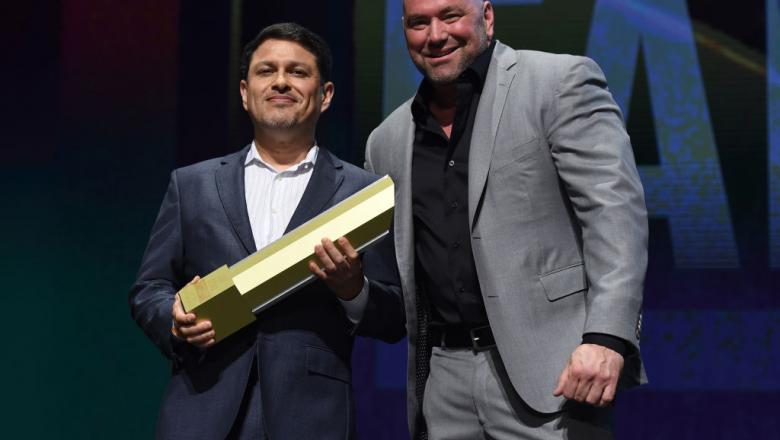 LAS VEGAS, NV - JULY 06:   (R-L) UFC President Dana White and Joe Silva pose for a picture during the UFC Hall of Fame 2017 Induction Ceremony at the Park Theater on July 6, 2017 in Las Vegas, Nevada. (Photo by Brandon Magnus/Zuffa LLC/Zuffa LLC via Getty