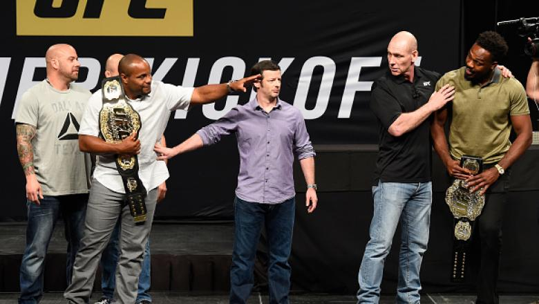DALLAS, TX - MAY 12:  (L-R) UFC light heavyweight champion Daniel Cormier and Jon Jones face off during the UFC Summer Kickoff Press Conference at the American Airlines Center on May 12, 2017 in Dallas, Texas. (Photo by Josh Hedges/Zuffa LLC/Zuffa LLC via