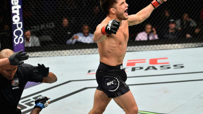 EDMONTON, AB - SEPTEMBER 09:  Henry Cejudo celebrates his knockout victory over Wilson Reis of Brazil in their flyweight bout during the UFC 215 event inside the Rogers Place on September 9, 2017 in Edmonton, Alberta, Canada. (Photo by Jeff Bottari/Zuffa