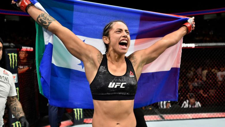 LAS VEGAS, NV - OCTOBER 07:  Mara Romero Borella of Italy celebrates after her submission victory over Kalindra Faria of Brazil in their women's flyweight bout during the UFC 216 event inside T-Mobile Arena on October 7, 2017 in Las Vegas, Nevada. (Photo