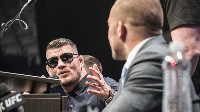 Michael Bisping and Georges St-Pierre - UFC 217 media day, Las Vegas 10/6/17 (Photo credit: Juan Cardenas)