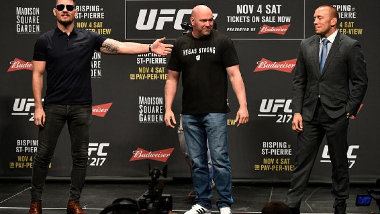 LAS VEGAS, NV - OCTOBER 06:   (L-R) Opponents Michael Bisping and Georges St-Pierre face off during the UFC 217 news conference inside T-Mobile Arena on October 6, 2017 in Las Vegas, Nevada. (Photo by Jeff Bottari/Zuffa LLC/Zuffa LLC via Getty Images)