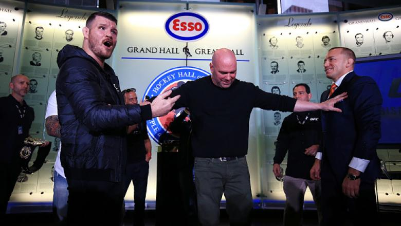 TORONTO, ON - OCTOBER 13:  Michael Bisping and Georges St-Pierre face off following the UFC 217 press conference with Dana White at the Hockey Hall of Fame on October 13, 2017 in Toronto, Canada.  (Photo by Vaughn Ridley/Zuffa LLC/Zuffa LLC via Getty Imag