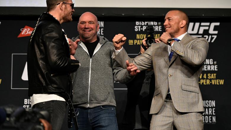 NEW YORK, NY - NOVEMBER 02:  (L-R) Opponents Michael Bisping of England and Georges St-Pierre of Canada face off during the UFC 217 Press Conference inside Madison Square Garden on November 2, 2017 in New York City. (Photo by Jeff Bottari/Zuffa LLC/Zuffa