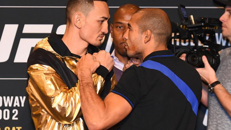 DETROIT, MI - NOVEMBER 30:  (L-R) Opponents Max Holloway and Jose Aldo of Brazil face off during the UFC 218 Ultimate Media Day at the DoubleTree Hotel on November 30, 2017 in Detroit, Michigan. (Photo by Josh Hedges/Zuffa LLC via Getty Images)