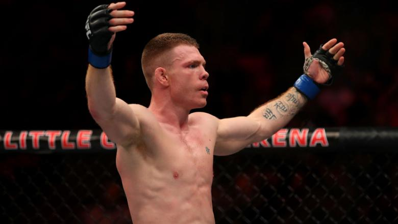 7DETROIT, MI - DECEMBER 02: Paul Felder celebrates his victory over Charles Oliveira during UFC 218 at Little Ceasars Arena on December 2, 2018 in Detroit, Michigan. (Photo by Gregory Shamus/Getty Images)
