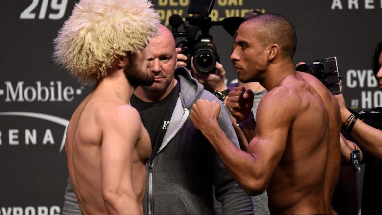 LAS VEGAS, NV - DECEMBER 29:  (L-R) Khabib Nurmagomedov of Russia and Edson Barboza of Brazil face off during the UFC 219 weigh-in inside T-Mobile Arena on December 29, 2017 in Las Vegas, Nevada. (Photo by Jeff Bottari/Zuffa LLC/Zuffa LLC via Getty Images
