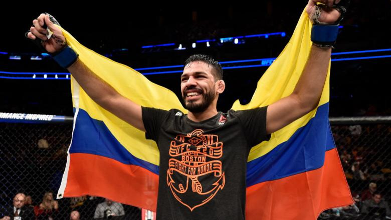 BOSTON, MA - JANUARY 20:  Julio Arce celebrates after his unanimous-decision victory over Dan Ige in their featherweight bout during the UFC 220 event at TD Garden on January 20, 2018 in Boston, Massachusetts. (Photo by Jeff Bottari/Zuffa LLC/Zuffa LLC vi