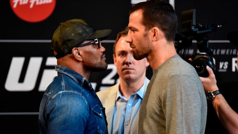 PERTH, AUSTRALIA - FEBRUARY 07:  (L-R) Yoel Romero of Cuba and Luke Rockhold face off during the UFC 221 Press Conference at Perth Arena on February 7, 2018 in Perth, Australia. (Photo by Jeff Bottari/Zuffa LLC/Zuffa LLC via Getty Images)