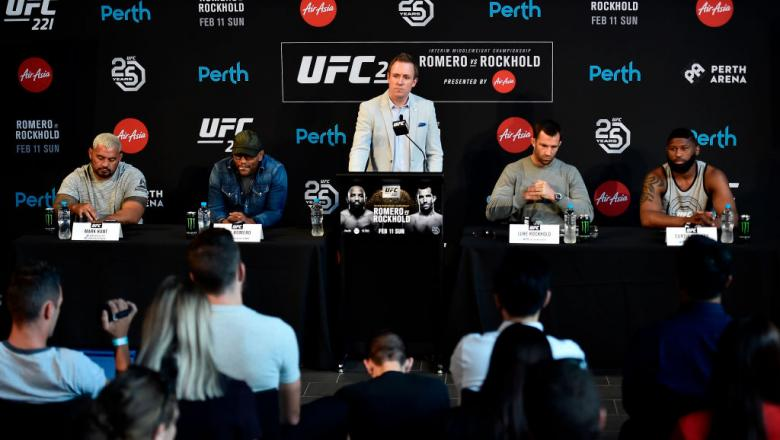 PERTH, AUSTRALIA - FEBRUARY 07:  UFC Senior Vice President, International and Content David Shaw (C) delivers an introduction speech to media during the UFC 221 Press Conference at Perth Arena on February 7, 2018 in Perth, Australia. (Photo by Jeff Bottar