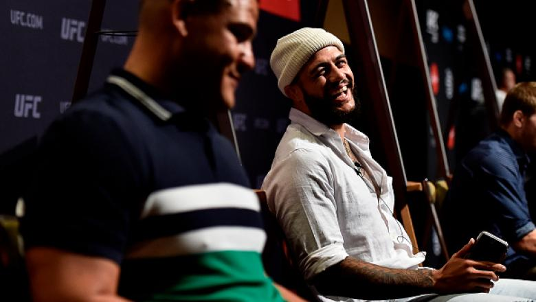 PERTH, AUSTRALIA - FEBRUARY 08:  (R-L) Tyson Pedro of Australia interacts with Tai Tuivasa of Australia during the UFC 221 Ultimate Media Day at Hyatt Regency on February 8, 2018 in Perth, Australia. (Photo by Jeff Bottari/Zuffa LLC/Zuffa LLC via Getty Im
