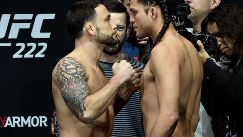 LAS VEGAS, NV - MARCH 02:   (L-R) Frankie Edgar and Brian Ortega face off during a UFC 222 weigh-in on March 2, 2018 in Las Vegas, Nevada. (Photo by Jeff Bottari/Zuffa LLC/Zuffa LLC via Getty Images)
