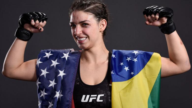 LAS VEGAS, NV - MARCH 03:   Mackenzie Dern poses for a portrait backstage after her victory over Ashley Yoder during the UFC 222 event inside T-Mobile Arena on March 3, 2018 in Las Vegas, Nevada. (Photo by Mike Roach/Zuffa LLC/Zuffa LLC via Getty Images)