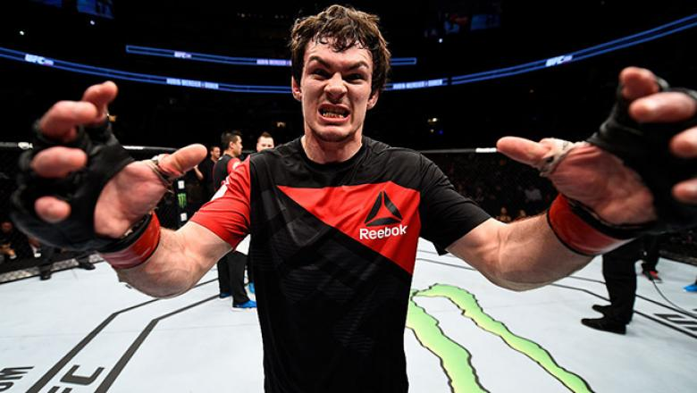 TORONTO, CANADA - DECEMBER 10:  Olivier Aubin-Mercier of Canada celebrates after his submission victory over Drew Dober in their lightweight bout during the UFC 206 event inside the Air Canada Centre on December 10, 2016 in Toronto, Ontario, Canada. (Phot