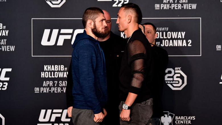 BROOKLYN, NY - APRIL 05:  (L-R) Khabib Nurmagomedov of Russia and Max Holloway face off during the UFC 223 Ultimate Media Day inside Barclays Center on April 5, 2018 in Brooklyn, New York. (Photo by Jeff Bottari/Zuffa LLC/Zuffa LLC via Getty Images)