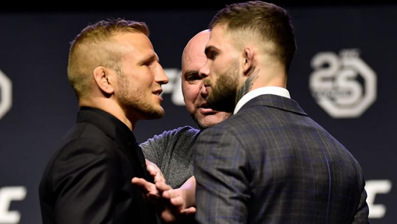 BROOKLYN, NEW YORK - APRIL 06:   (L-R) Opponents TJ Dillashaw and Cody Garbrandt face off during the UFC press conference inside Barclays Center on April 6, 2018 in Brooklyn, New York. (Photo by Jeff Bottari/Zuffa LLC/Zuffa LLC via Getty Images)
