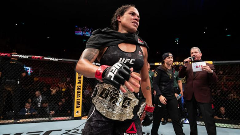 RIO DE JANEIRO, BRAZIL - MAY 12: Amanda Nunes of Brazil celebrates victory over Raquel Pennington of the United States in their women's bantamweight bout during the UFC 224 event at Jeunesse Arena on May 12, 2018 in Rio de Janeiro, Brazil. (Photo by Buda