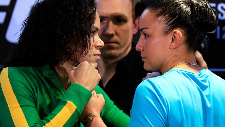 RIO DE JANEIRO, BRAZIL - MAY 10: UFC bantamweight fighters Amanda Nunes (L) of Brazil and Raquel Pennington of the United States face off during Ultimate Media Day on May 10, 2018 in Rio de Janeiro, Brazil. (Photo by Buda Mendes/Zuffa LLC/Zuffa LLC via Ge