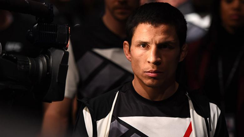 LAS VEGAS, NV - FEBRUARY 06:  Joseph Benavidez enters the Octogon to fight Zach Makovsky in aflyweight bout during the UFC Fight Night event at MGM Grand Garden Arena on February 6, 2016 in Las Vegas, Nevada.  (Photo by Josh Hedges/Zuffa LLC/Zuffa LLC via
