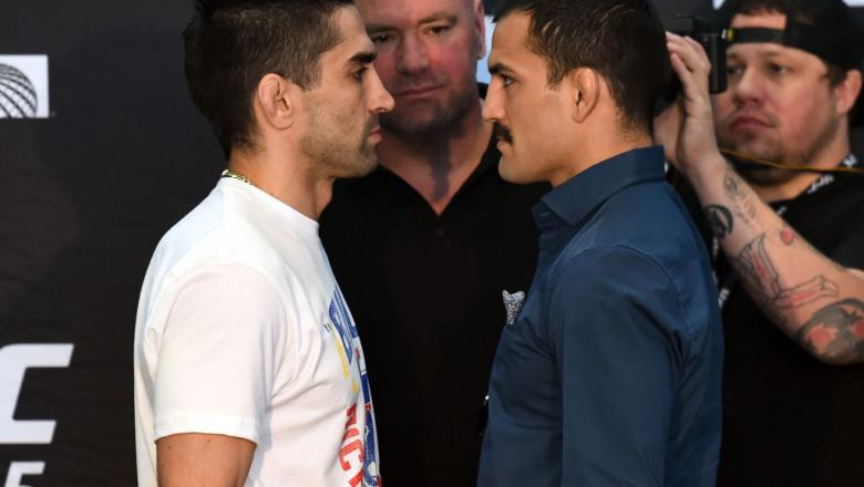 CHICAGO, ILLINOIS - JUNE 07:   (L-R) Opponents Ricardo Lamas and Mirsad Bektic of Bosnia face off during the UFC 225 Ultimate Media Day at the United Center on June 7, 2018 in Chicago, Illinois. (Photo by Josh Hedges/Zuffa LLC/Zuffa LLC via Getty Images)