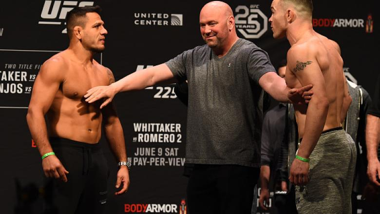 CHICAGO, ILLINOIS - JUNE 08:  (L-R) Opponents Rafael Dos Anjos of Brazil and Colby Covington face off during the UFC 225 weigh-in at the United Center on June 8, 2018 in Chicago, Illinois. (Photo by Josh Hedges/Zuffa LLC/Zuffa LLC via Getty Images)