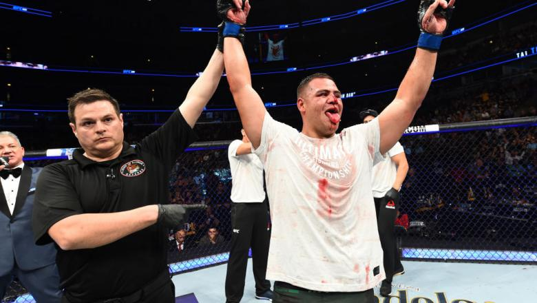 CHICAGO, ILLINOIS - JUNE 09:  Tai Tuivasa of Australia celebrates after defeating Andrei Arlovski of Belarus in their heavyweight fight during the UFC 225 event at the United Center on June 9, 2018 in Chicago, Illinois. (Photo by Josh Hedges/Zuffa LLC/Zuf