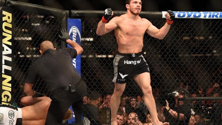 LOS ANGELES, CA - FEBRUARY 28:  Jake Ellenberger celebrates his submission victory over Josh Koscheck in their welterweight bout during the UFC 184 event at Staples Center on February 28, 2015 in Los Angeles, California.  (Photo by Harry How/Getty Images)