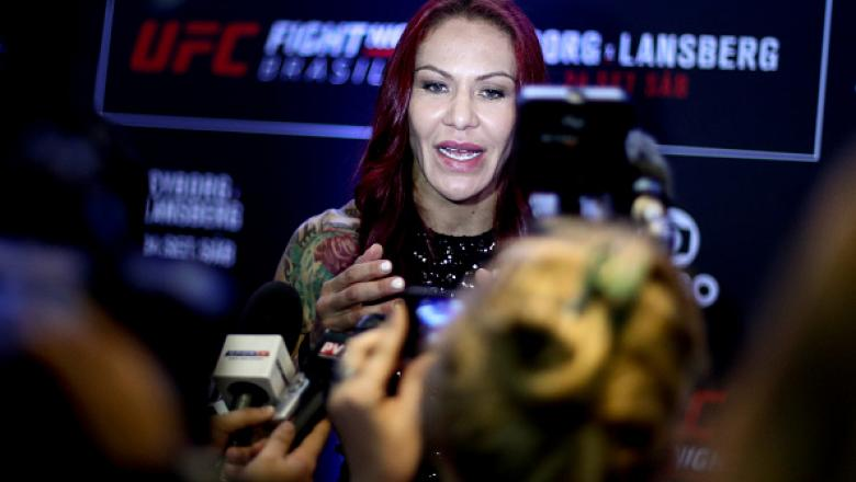 "BRASILIA, BRAZIL - SEPTEMBER 22: Catchweight contender Cris ""Cyborg"" Justino of Brazil speaks to the media during Ultimate Media Day at Windsor Brasilia Hotel on September 22, 2016 in Brasilia, Brazil. (Photo by Buda Mendes/Zuffa LLC/Zuffa LLC via Getty I"