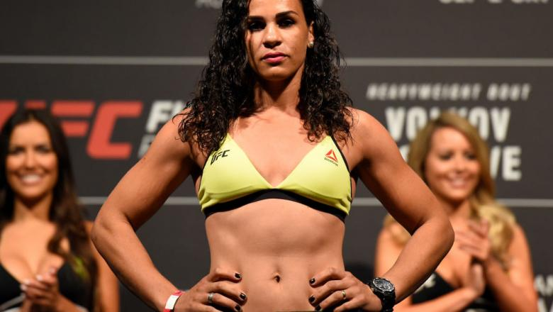 ROTTERDAM, NETHERLANDS - SEPTEMBER 01:   Talita Bernardo of Brazil poses on the scale during the UFC Fight Night Weigh-in at the Rotterdam Ahoy on September 1, 2017 in Rotterdam, Netherlands. (Photo by Josh Hedges/Zuffa LLC/Zuffa LLC via Getty Images)