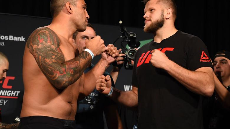 SYDNEY, AUSTRALIA - NOVEMBER 18:  (L-R) Fabricio Werdum of Brazil and Marcin Tybura of Poland face off during the UFC Fight Night weigh-in on November 18, 2017 in Sydney, Australia. (Photo by Josh Hedges/Zuffa LLC/Zuffa LLC via Getty Images)