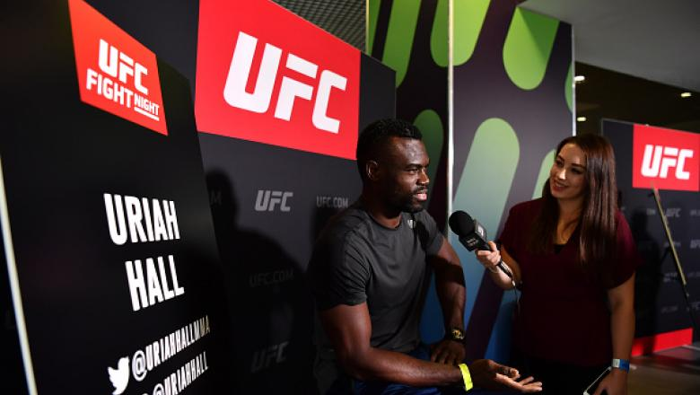 BELFAST, IRELAND - NOVEMBER 17:  Uriah Hall of the United States speaks to the media during the UFC Fight Night Ultimate Media Day at the SSE Arena on November 17, 2016 in Belfast, Ireland. (Photo by Brandon Magnus/Zuffa LLC/Zuffa LLC via Getty Images)