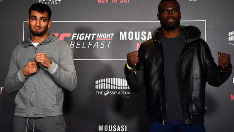 BELFAST, IRELAND - NOVEMBER 17:  (L-R) Gegard Mousasi of the Netherlands and Uriah Hall of the United States pose for a picture during the UFC Fight Night Ultimate Media Day at the SSE Arena on November 17, 2016 in Belfast, Ireland. (Photo by Brandon Magn