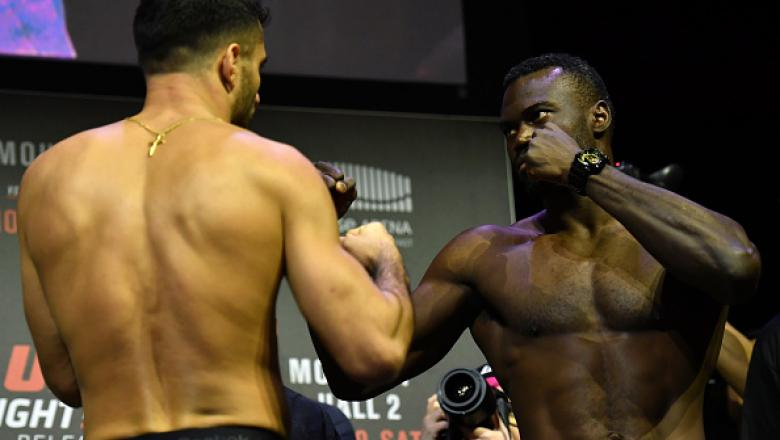 BELFAST, NORTHERN IRELAND - NOVEMBER 18:  (L-R) Gegard Mousasi of the Netherlands and Uriah Hall of the United States face off during the UFC Fight Night weigh-in at the SSE Arena on November 18, 2016 in Belfast, Northern Ireland. (Photo by Brandon Magnus