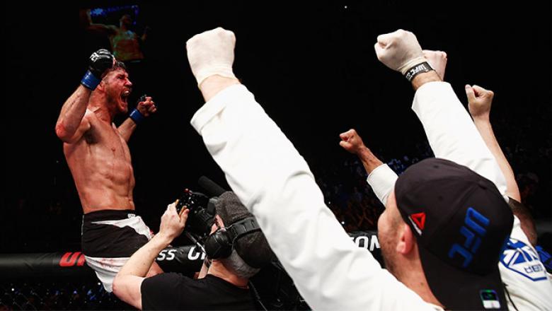 LONDON, ENGLAND - FEBRUARY 27:  Michael 'The Count' Bisping of England celebrates after his victory over Anderson 'The Spider' Silva of Brazil in their Middleweight bout during the UFC Fight Night held at at Indigo at The O2 Arena on February 27, 2016 in