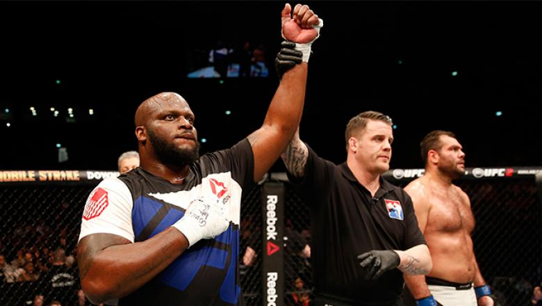 ZAGREB, CROATIA - APRIL 10: (L-R) Derrick Lewis celebrates his knock out victory over Gabriel Gonzaga in their heavyweight bout during the UFC Fight Night event at the Arena Zagreb on April 10, 2016 in Zagreb, Croatia. (Photo by Srdjan Stevanovic/Zuffa LL