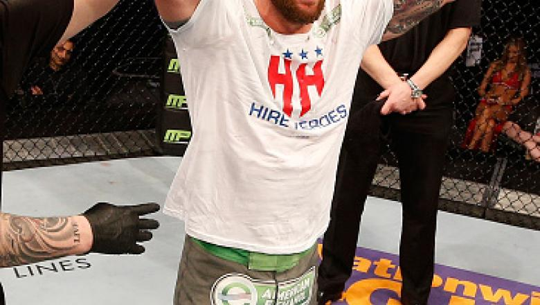 STOCKHOLM, SWEDEN - JANUARY 24:  Ryan Bader of the United States celebrates after his split-decision victory over Phil Davis of the United States in their light heavyweight bout during the UFC Fight Night event at the Tele2 Arena on January 24, 2015 in St