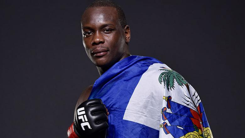 NEWARK, NJ - APRIL 18:  Ovince Saint Preux poses for a portrait after defeating Patrick Cummins by KO in their light heavyweight bout during the UFC Fight Night event at Prudential Center on April 18, 2015 in Newark, New Jersey.  (Photo by Mike Roach/Zuff