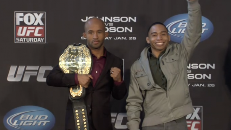UFC Flyweight champion Demetrious Johnson and challenger John Dodson pose for media at the UFC on FOX 6 Chicago pre-fight press conference