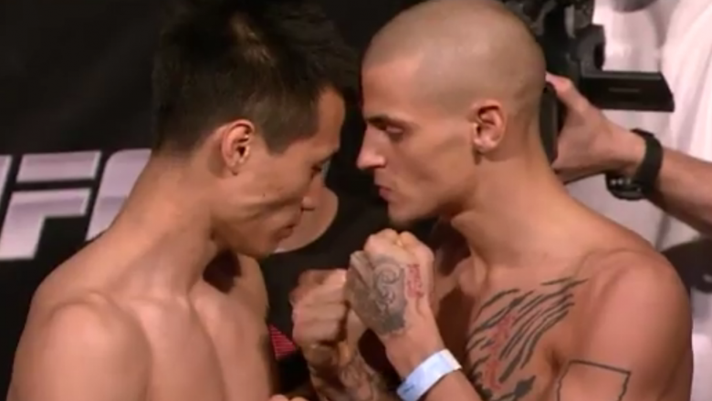 the Korean Zombie in a heated face-off with Dustin Poirier at the weigh in for UFC on Fuel