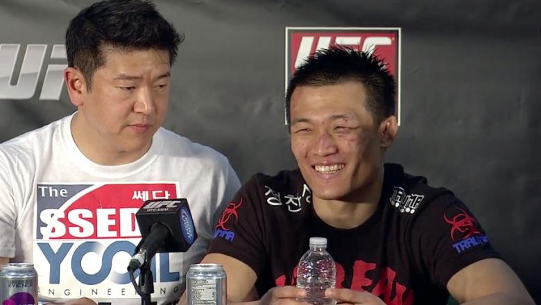 Korean Zombie smiles at post Fuel 3 presser