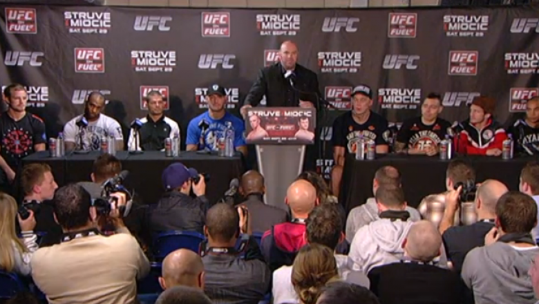 Dana White address the media after the Nottingham fight