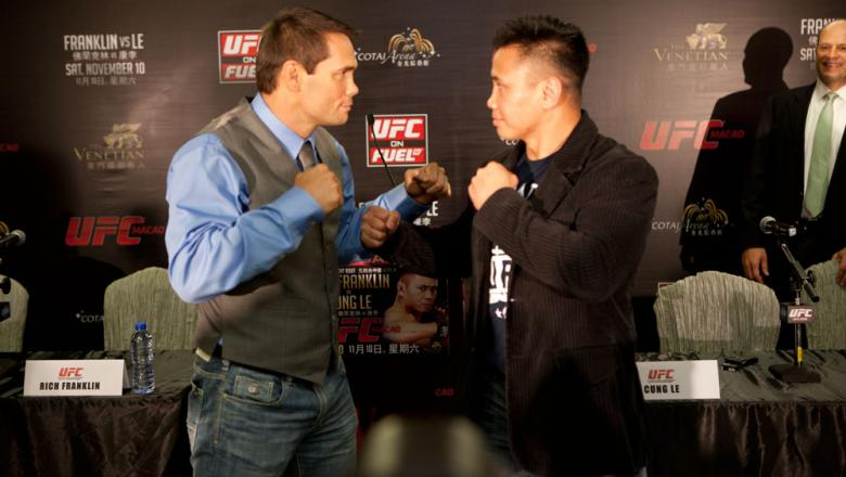 MACAO, CHINA - SEPTEMBER 6: Rich Franklin and Cung Le face off during a