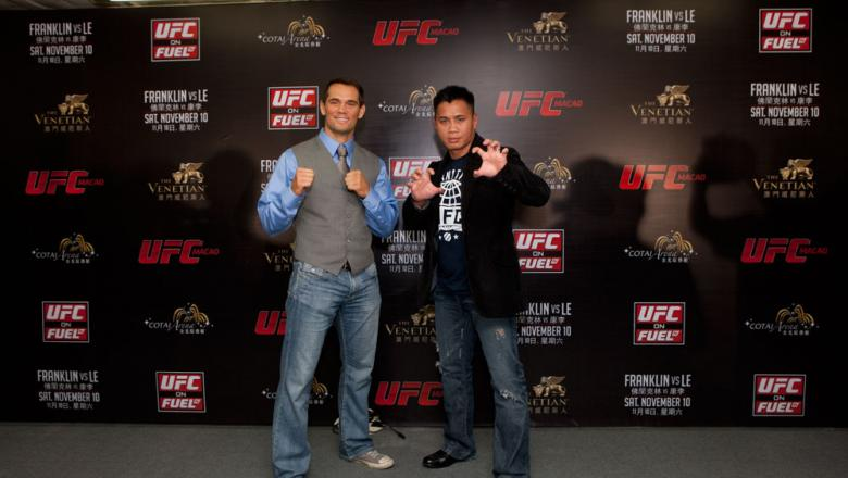 MACAO, CHINA - SEPTEMBER 6: Rich Franklin and Cung Le pose for press and media during a press conference at The Venetian® Macao-Resort-Hotel on September 6, 2012 in Macao, China. (Photo by Zuffa LLC)