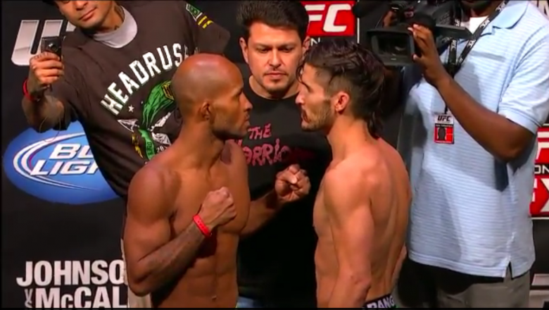 UFC on FX Demetrious Johnson vs Ian McCall face off at the weigh in