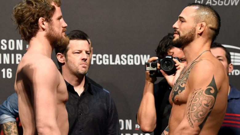 GLASGOW, SCOTLAND - JULY 15:  (L-R) Gunnar Nelson of Iceland and Santiago Ponzinibbio of Argentina face off during the UFC Fight Night weigh-in at the SSE Hydro Arena Glasgow on July 15, 2017 in Glasgow, Scotland. (Photo by Josh Hedges/Zuffa LLC)